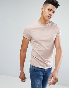 Read more about Asos crew neck t-shirt with roll sleeve in beige - porridge