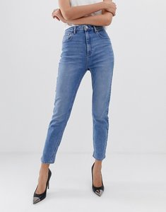 Read more about Asos design farleigh high waist slim mom jeans in light stone wash - bl1 blue 1