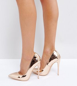 Read more about Lost ink wide fit rose gold heeled court shoes - rose gold