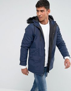 Read more about Tokyo laundry parka jacket with faux fur hood - navy