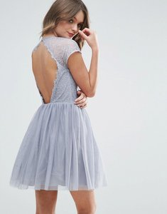 Read more about Asos premium lace tulle mini prom dress - grey
