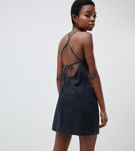 bbe56515bd1 Read more about Asos design petite denim slip dress with low back in washed  black -