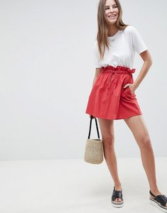 Read more about Asos cotton mini skater skirt with tie waist - red