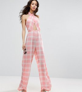 Read more about Asos tall jumpsuit in check with cross front and super wide leg - multi