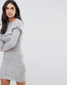 Read more about Brave soul frill rib dress - silver grey