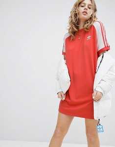 Read more about Adidas originals adicolor three stripe raglan dress in red - red