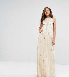 Read more about Maya tall all over embellished lace maxi dress - nude