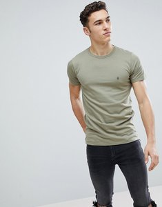 Read more about French connection long line side zip t-shirt - light khaki