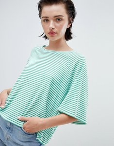 Read more about Weekday textured stripe t-shirt in green and white stripe - green white stripe