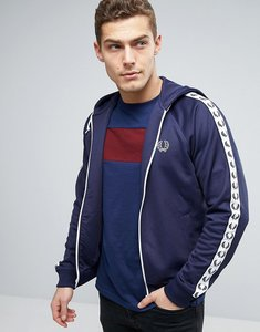 Read more about Fred perry sports authentic hooded track jacket in blue - carbon blue