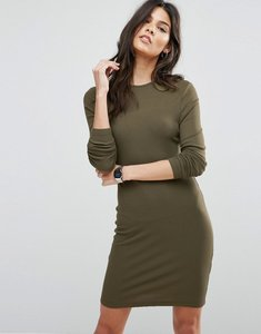 Read more about Asos mini bodycon dress in rib with long sleeves - khaki