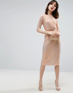 Read more about Asos pencil plisse dress with wrap detail - ivory bronze