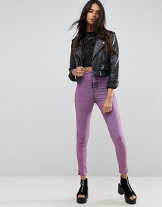 Read more about Asos rivington high waist denim jeggings in pink acid wash - hot pink