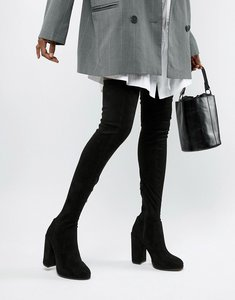 Read more about Asos design kassidy heeled over the knee boots - black