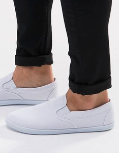 Read more about Asos slip on plimsolls in white - white