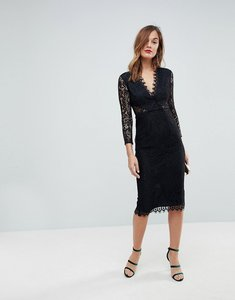 Read more about Asos long sleeve lace midi pencil dress - black