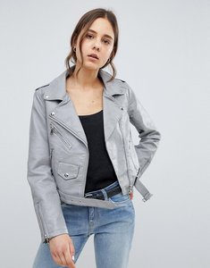 Read more about Parisian leather look jacket - grey