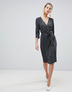 Read more about Traffic people 3 4 sleeve wrap midi dress - navy