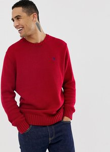 Read more about Polo ralph lauren chunky cotton knit jumper with crew neck in red