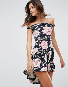 Read more about Ax paris hi lo bandeau dress in floral print - navy