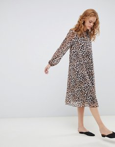 Read more about Asos design pleated trapeze midi dress with long sleeves in leopard print - multi
