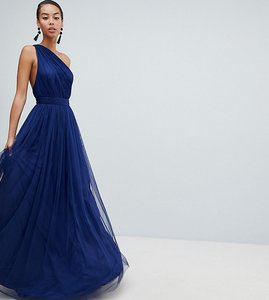Read more about Asos design tall premium tulle one shoulder maxi dress - navy