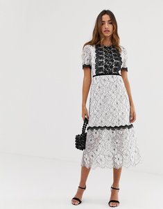 Read more about Forever u lace midi dress with contrast trim in mono