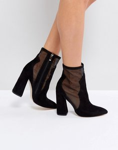 Read more about Public desire mesh heeled ankle boots - black