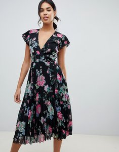 Read more about Asos design pleated midi dress with flutter sleeve in floral print