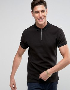 Read more about Bellfield polo shirt with half zip - black