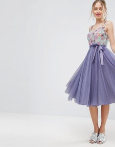 Read more about Asos floral embellished bodice midi tulle skater dress - multi