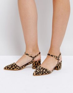 Read more about Truffle collection wrap ankle point toe mid heel shoe - leopard