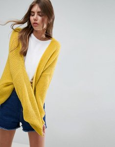 Read more about Asos chunky cardigan in fluffy rib - yellow