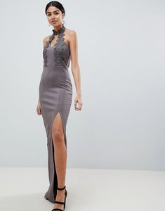 Read more about Ax paris maxi dress with lace detail side split - pewter