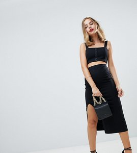 Read more about Asos design petite midi skirt with front split - black