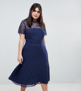 Read more about Asos design curve lace insert panelled midi dress - navy