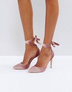 Read more about Truffle collection tie ankle point high heels - nude velvet