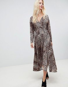 Read more about Asos design wrap midi dress in leopard print - multi