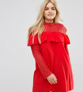 Read more about Club l plus crochet high neck detailed dress with long sleeves - poppy red