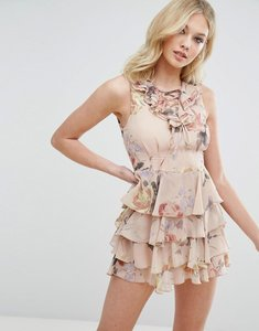 Read more about Missguided floral print lace up ruffle dress - peach