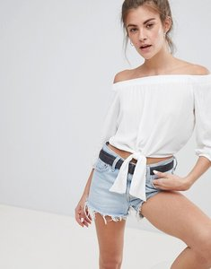 Read more about Pull bear off shoulder tie front top in white - white