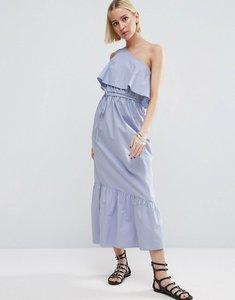 Read more about Asos cotton one shoulder city maxi dress - pale blue