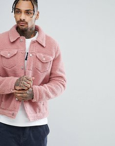 Read more about Asos borg western jacket in pink - pink