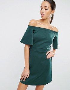 Read more about Asos scuba off shoulder mini dress - green