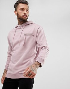 Read more about Dead vintage longline hoodie with strap zip pocket - pink