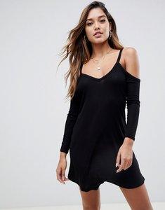 Read more about Asos design cold shoulder mini swing dress - black