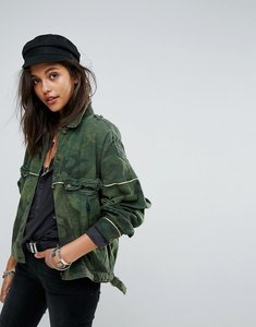 Read more about Free people slouchy military camo jacket - green combo