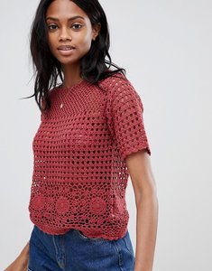Read more about Oasis crochet top in red - orange