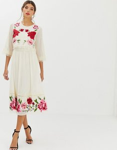 Read more about Asos design double layer midi embroidered dress with long sleeves