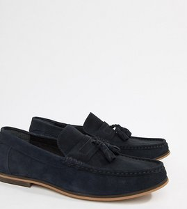 85c099ff7f3 Read more about Asos design wide fit tassel loafers in navy suede with  natural sole -